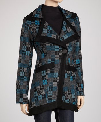 Blue & Gray Abstract Box Wool-Blend Coat - Women