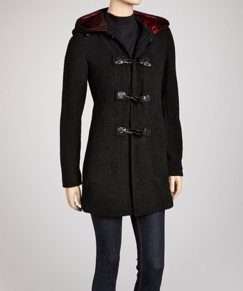 Black Toggle Wool-Blend Coat - Women