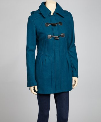 Teal Double Toggle Zip-Up Coat - Women
