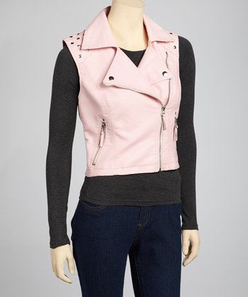 Dark Pink Faux Leather Moto Vest