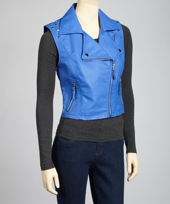 Blue Faux Leather Moto Vest