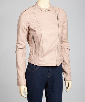 Dusty Pink Faux Leather Moto Jacket
