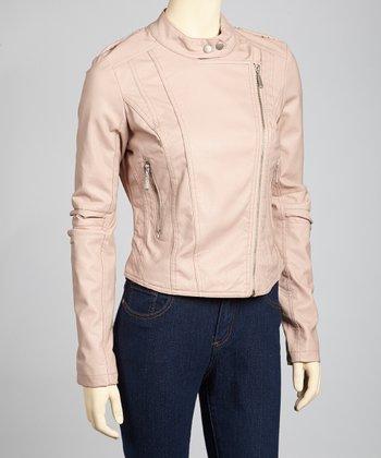 Dusty Pink Faux Leather Moto Jacket