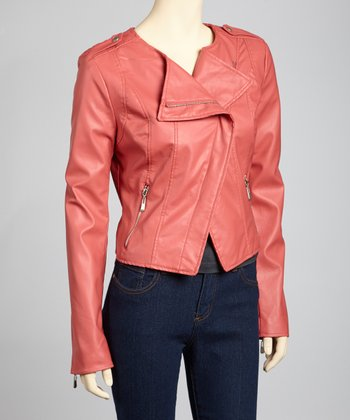 Coral Asymmetrical Moto Jacket