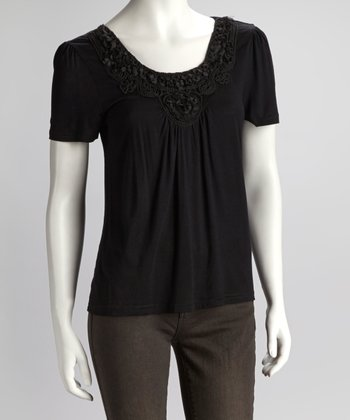 Black Embroidery Blossom Short-Sleeve Top