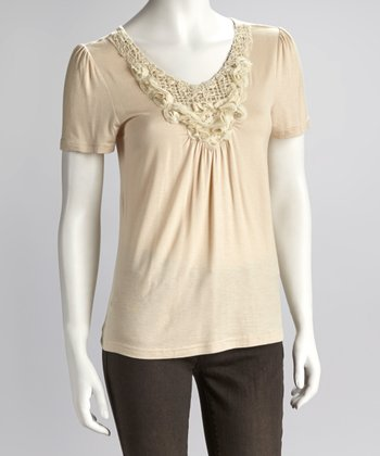 Peach Rosette Short-Sleeve Top