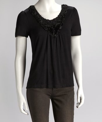 Black Rosette Short-Sleeve Top