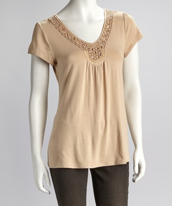 Peach Jewel Neckline Short-Sleeve Top