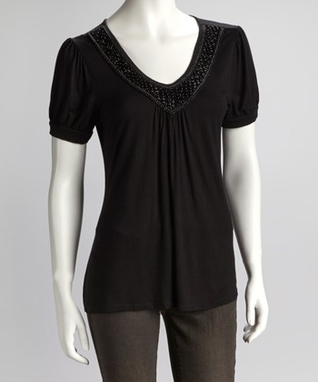 Black Embellished Neckline Short-Sleeve Top