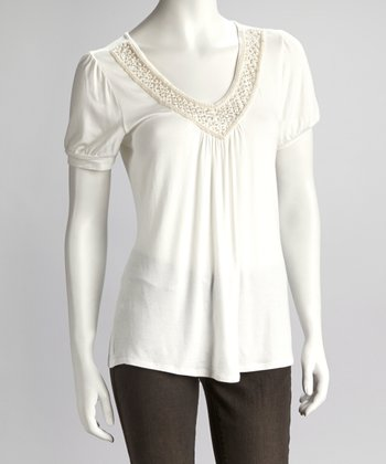 White Embellished Neckline Short-Sleeve Top