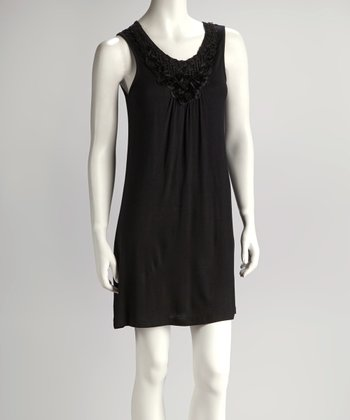 Black Rosette Accent Sleeveless Dress