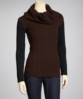 Brown Cowl Neck Sleeveless Sweater