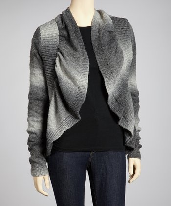 Dark Gray Stripe Ruffle Open Cardigan