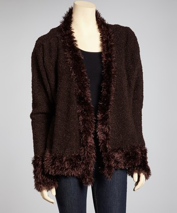 Coffee Faux Fur Linen-Blend Open Cardigan - Women