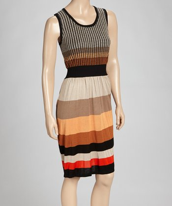Black & Orange Stripe Dress