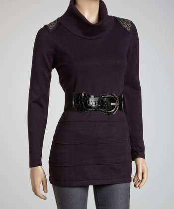 Plum Embellished Turtleneck