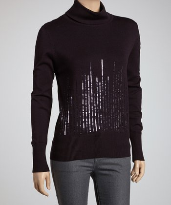 Plum Sequin Turtleneck
