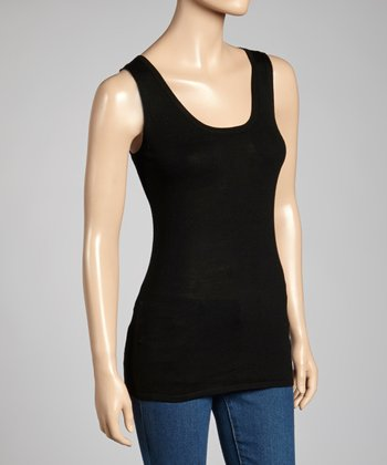 Black Wool-Silk Blend Scoop Neck Tank