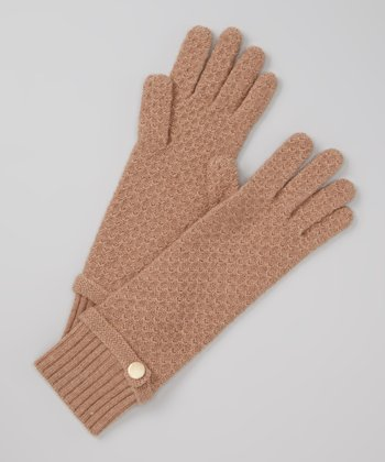 Camel Pearlized Button Cashmere Gloves