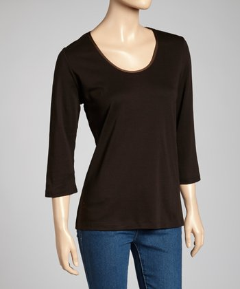 Chocolate Classic-Fit Three-Quarter Sleeve Top