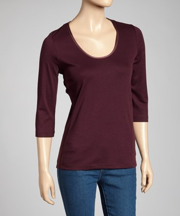 Aubergine Classic-Fit Three-Quarter Sleeve Top