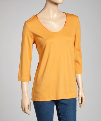 Orange Classic-Fit Three-Quarter Sleeve Top