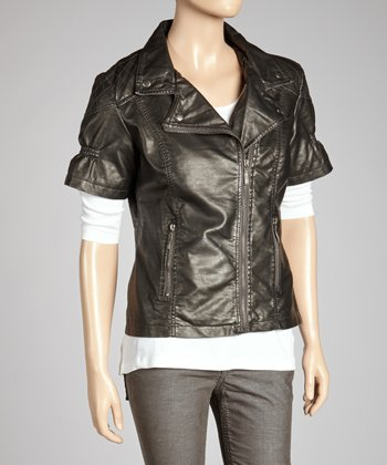 Silver Short-Sleeve Zip-Up Jacket