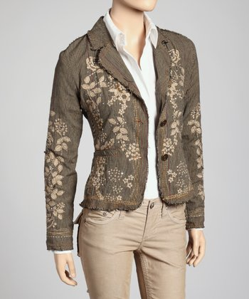 Olive Green & Taupe Frayed Sequin Blazer