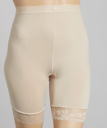 Nude Lace Trim Long Shaper Shorts