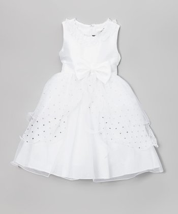 White Bow Dress - Toddler & Girls