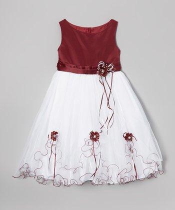 LA Sun Burgundy Flower Fluff Dress - Toddler & Girls