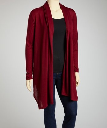Burgundy Long Open Cardigan - Plus