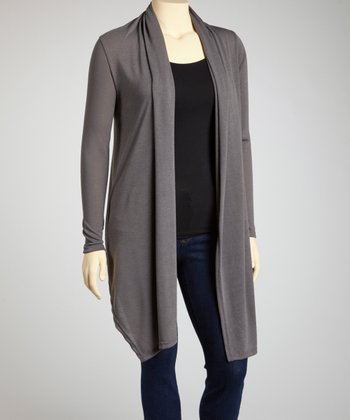 Gray Long Open Cardigan - Plus