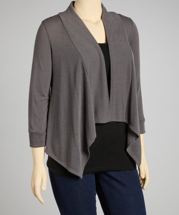 Gray Three-Quarter Sleeve Sidetail Open Cardigan - Plus
