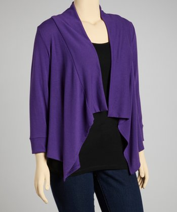 Purple Three-Quarter Sleeve Sidetail Open Cardigan - Plus