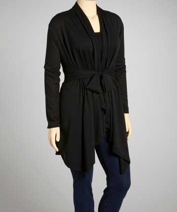 Black Tie-Waist Cardigan - Plus