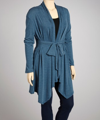 Blue Tie-Waist Open Cardigan - Plus