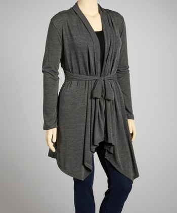 Charcoal Tie-Waist Open Cardigan - Plus