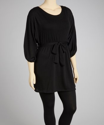 Black Tie-Waist Dolman Sweater Dress - Plus