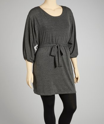 Charcoal Tie-Waist Scoop Neck Dolman Sweater Dress - Plus