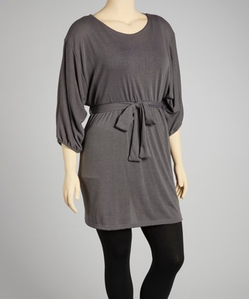 Gray Tie-Waist Scoop Neck Dolman Sweater Dress - Plus