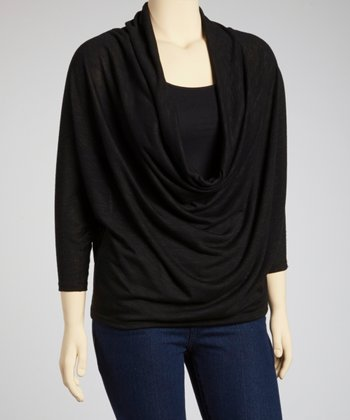 Black Dolman Drape Top - Plus