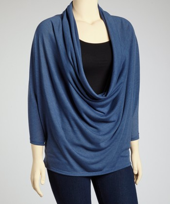 Blue Dolman Drape Top - Plus