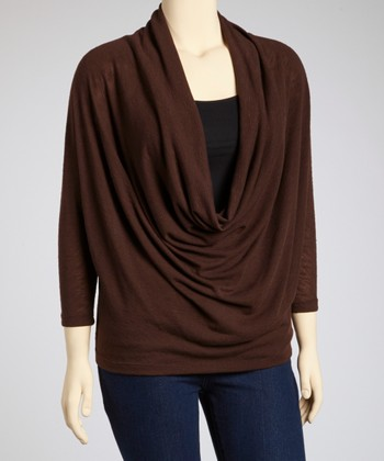 Brown Dolman Drape Top - Plus