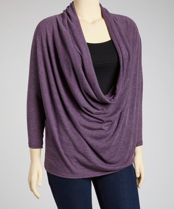 Heather Purple Dolman Drape Top - Plus