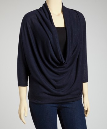Navy Dolman Drape Top - Plus