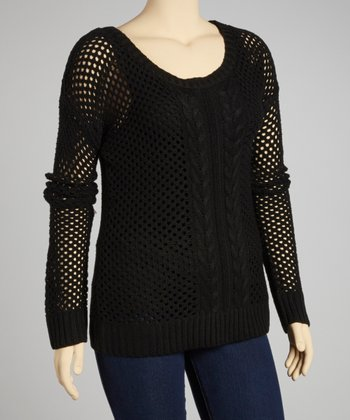 Black Mesh Scoop Neck Sweater - Plus