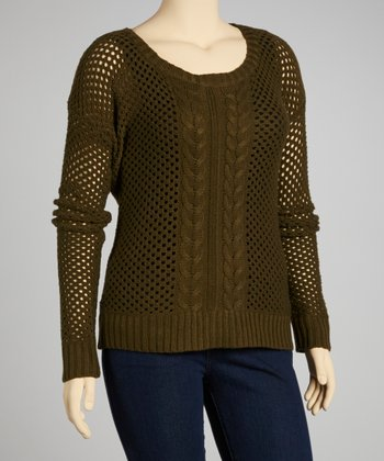 Olive Mesh Scoop Neck Sweater - Plus