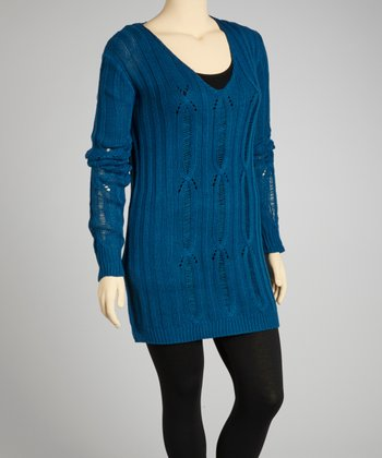 Teal V-Neck Sweater - Plus