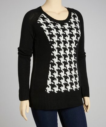 Black Houndstooth Sweater - Plus